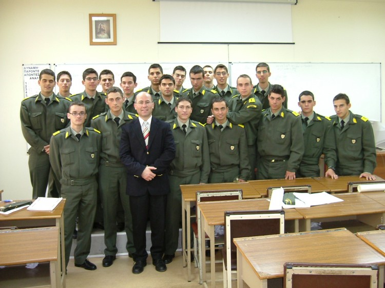 Dr. Theodore Liolios with his cadets at the Hellenic Army Academy in the classroom