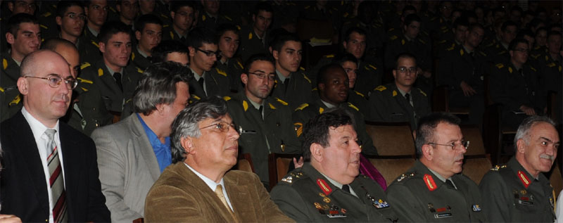 Dr. Theodore Liolios (far left) with the Chief of the Hellenic Army General Staff (General Fragoulis Fragos, first row, left), the First Deputy Chief of the Helllenic Army General Staff (General A. Tsolakidis, first row, right) and the Commandant of the Hellenic Army Academy (General G. Mpasiakoulis, first row, middle)