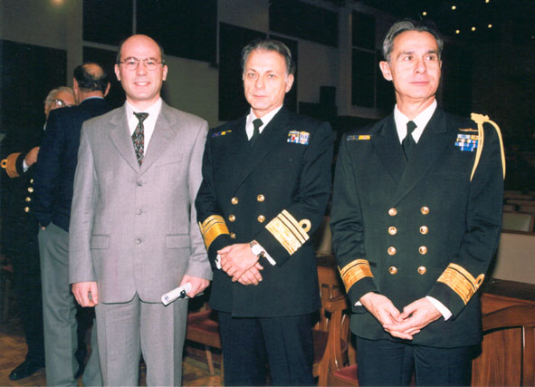 Hellenic War Museum (2002): The Chief of the Hellenic Navy Staff Admiral Antonios Antoniadis (middle), The Deputy Chief of the Hellenic Navay Staff (right) and Dr. Theodore Liolios after the prize awarding ceremony