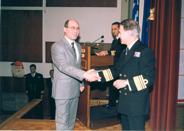 Hellenic War Museum (2002): The Chief of the Hellenic Navy Staff Admiral Antonios Antoniadis presenting Dr. Theodore Liolios with the Hellenic Navy Research Prize for his work on Special Weapons